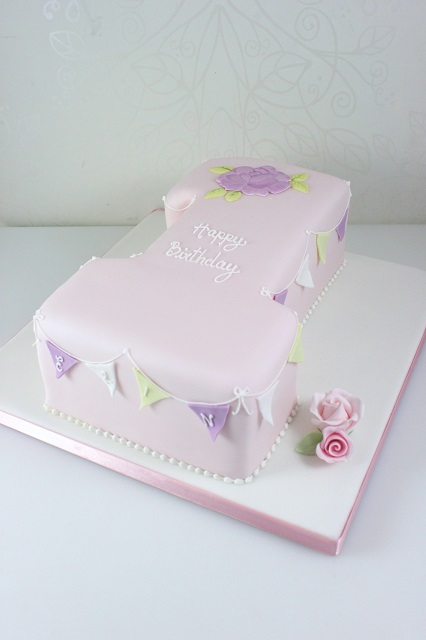 Click To Enlarge Image 1st Birthday Bunting Cake