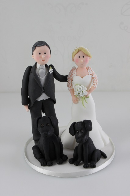 Click To Enlarge Image Bride Groom And Labradors Wedding Cake Topper Jpg