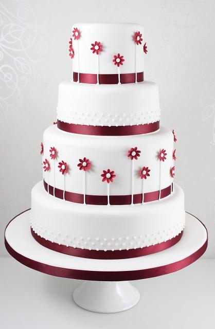 Click To Enlarge Image Burgundy Daisy Wedding Cake Jpg
