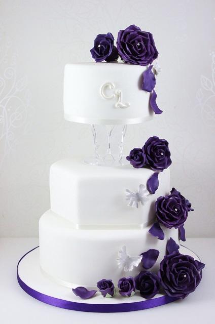 Click To Enlarge Image Cadbury Purple Rose Cascade Wedding Cake
